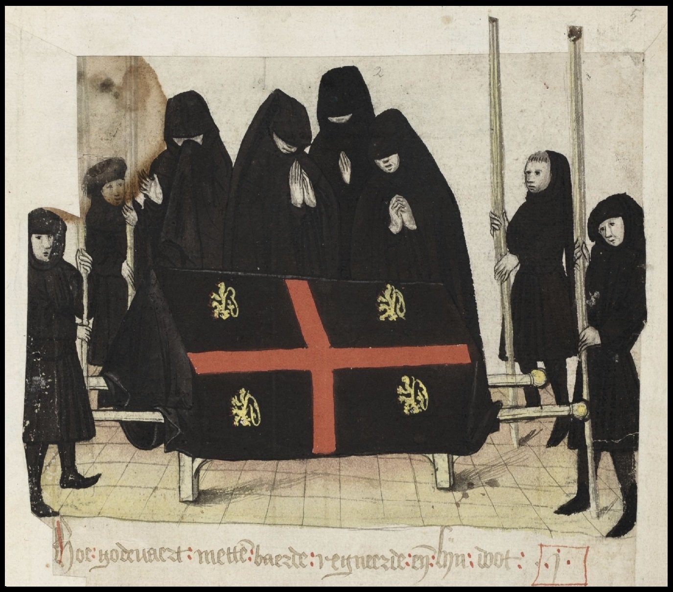 mourners in black hooded smocks with draped coffin