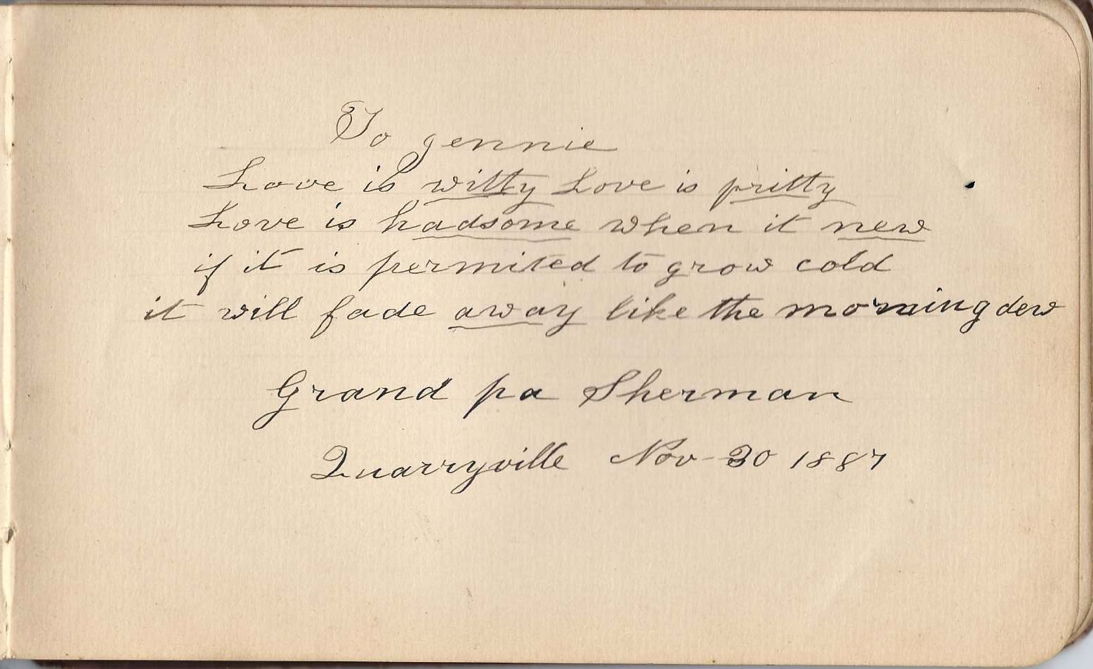 heirlooms reunited s autograph album of jennie of bolton i found a jennie sherman daughter of eber e and lydia robertson sherman who married frank burnap her grandfather was william sherman