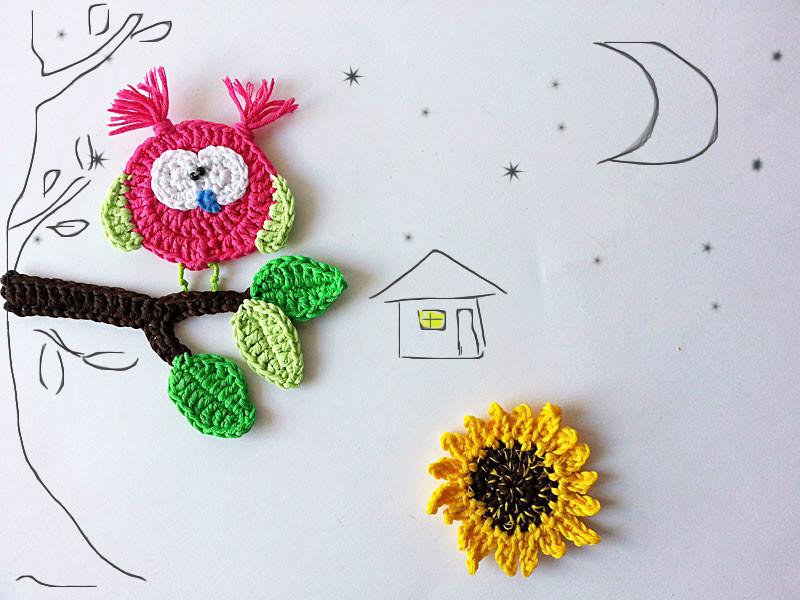 Crochet forest appliques