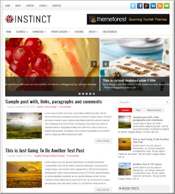Instinct magazine style blogspot template