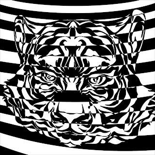 tiger head op art black and white