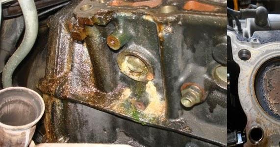 menghilangkan kerak noda diblok mesin motor motor