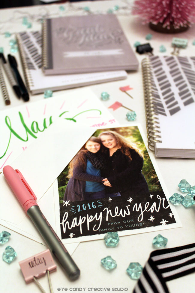 sending new year cards in the mail, addressing, hand lettering, send love