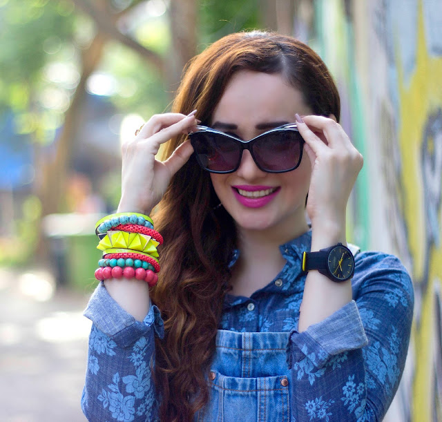 Calvin Klein G2 range Watch, Arm Party, Denim Floral Shirt, Miu Miu Cat-eye Sunglasses, Denim on Denim