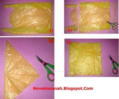 langkah membuat bunga zinnia dari kantong kresek bekas