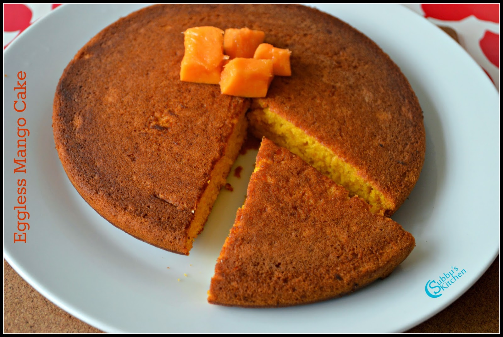Eggless Mango Cake | Diary free Eggless Mango Cake | How to make spongy mango cake