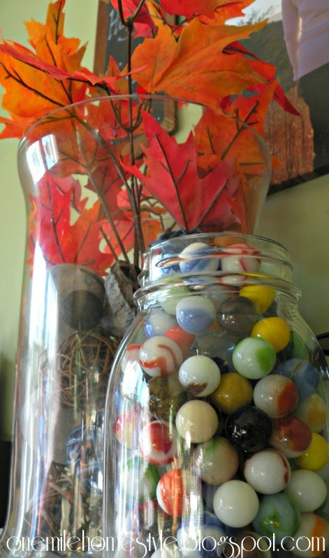 Fall leaves and marbles - simple fall decor