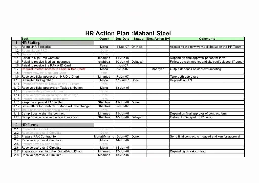 Hr Employee Action Plan Sample