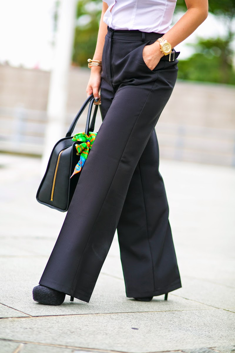 How to wear Black Wide Leg Trousers