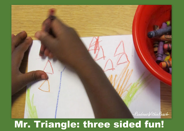 photo of: Triangles in drawing, Preschool triangles, Shapes in preschool, Shapes in kindergarten
