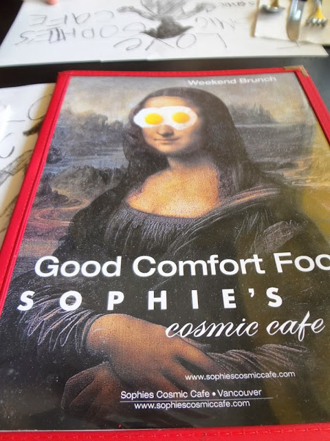 Menu, Sophie's Cosmic Cafe in Vancouver