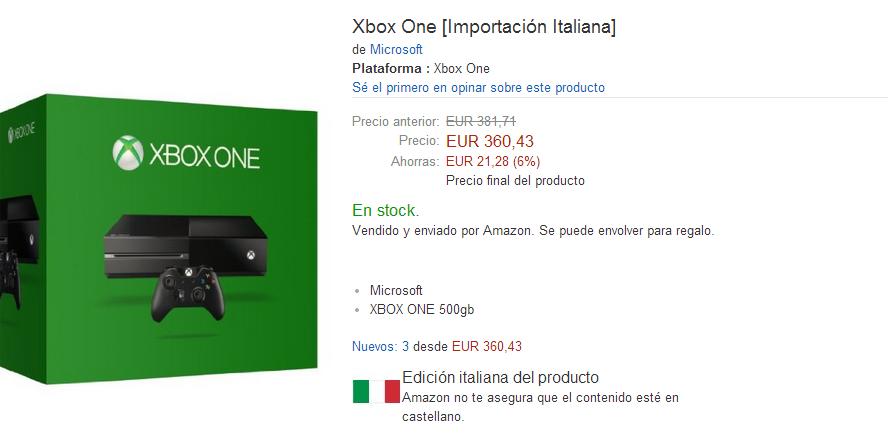 Oportunidad para comprar Xbox ONE.