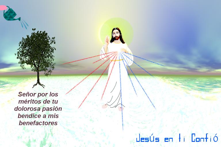 foto de arbol siendi regado a la par jesus  abo oracion por benefactores