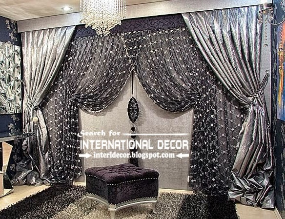 Italian drapes curtain,luxury curtain design,luxury drapes curtain,black and grey curtain