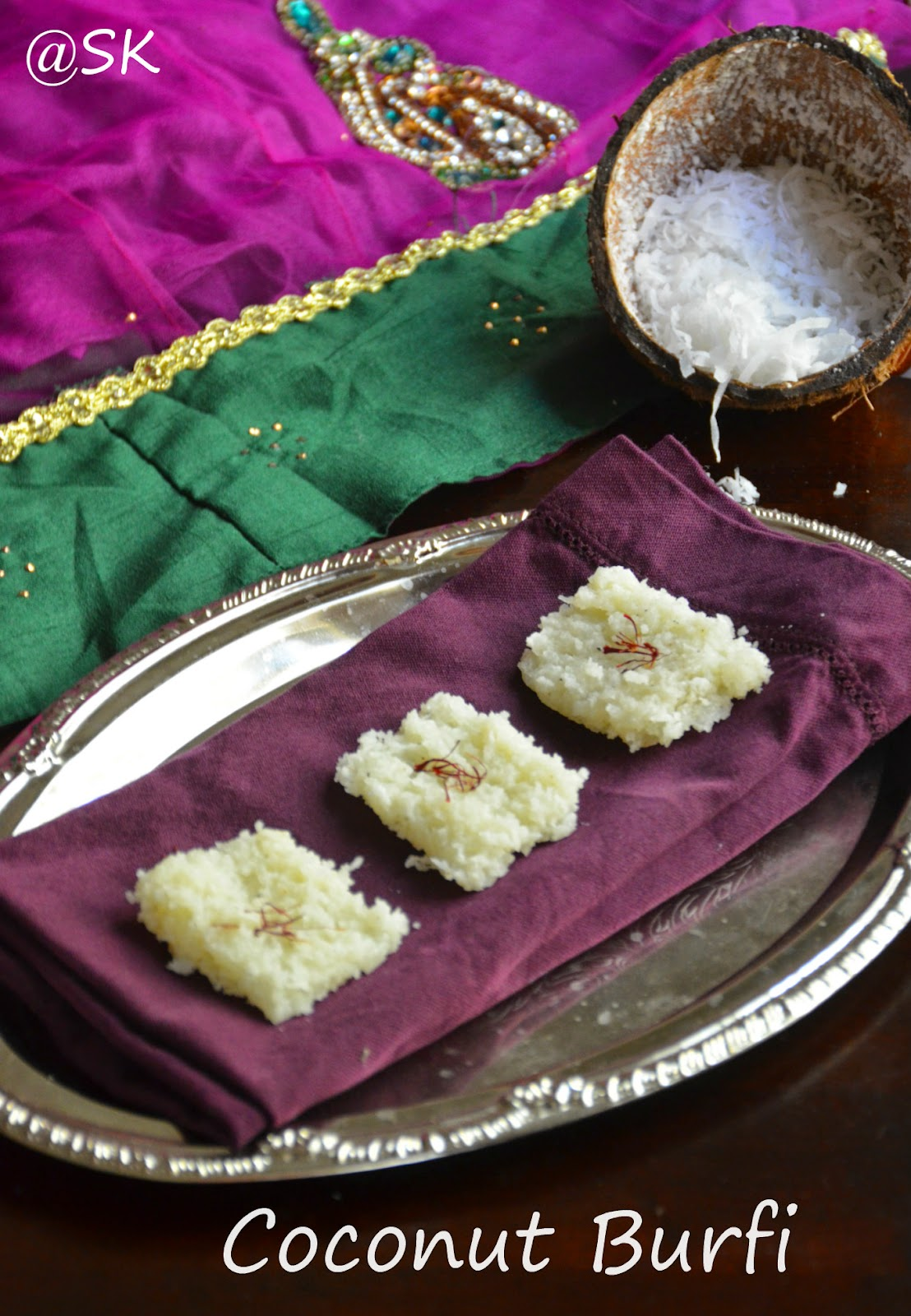 Easy coconut burfi