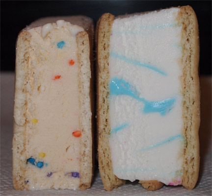 What Blue Bunny Lacks In Sprinkles It Makes Up For With A Very Bright Swirl Its Funny How Non White The Perrys Sandwich Is I Wonder If Theyve Got