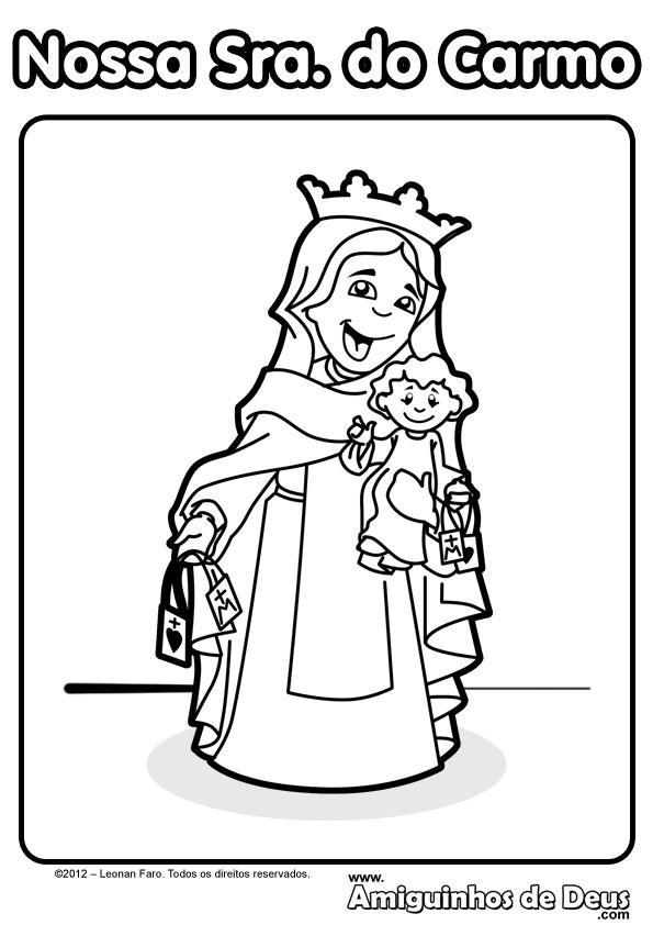 Nossa Senhora do Carmo desenho para pintar colorir