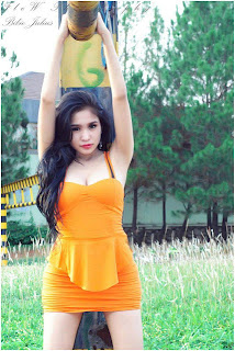 hot Bibie Julius in Orange Dress PhotoShoot