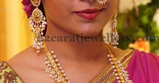 Guttapusala Haram And Nose Ring Jewellery Designs