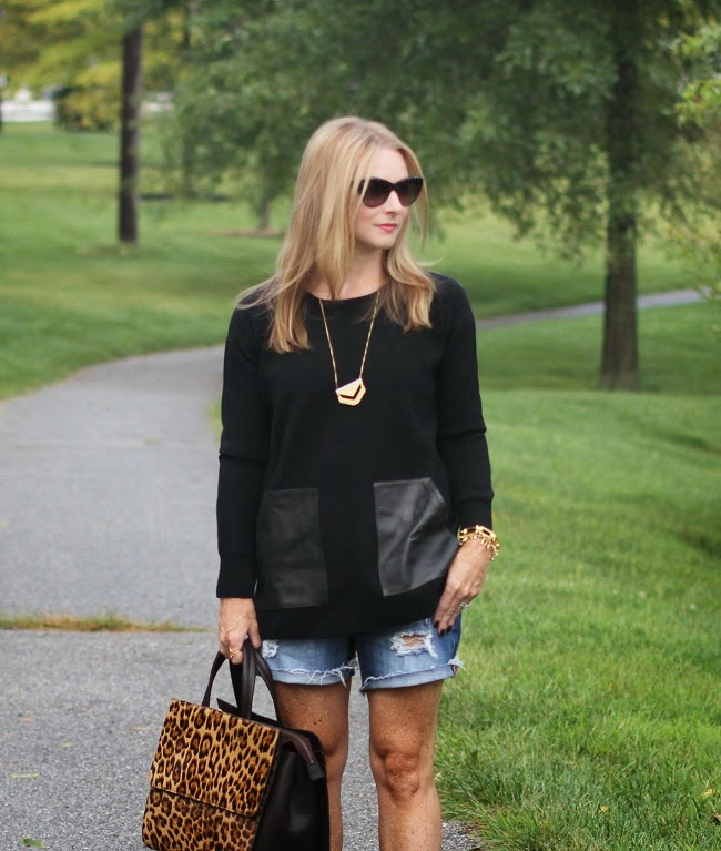 jcrew leather trim sweater, saint laurent sunglasses, madewell necklace, boden loepard bag