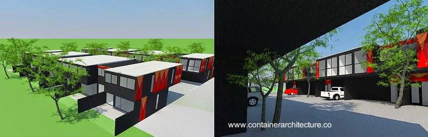 Renderizado de un proyecto de casas hechas de contenedores reciclados