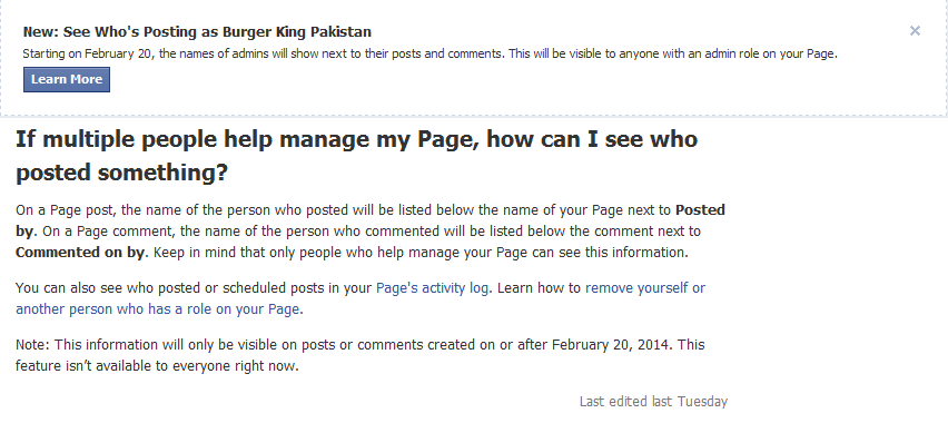 New: See Who's Posting as Page