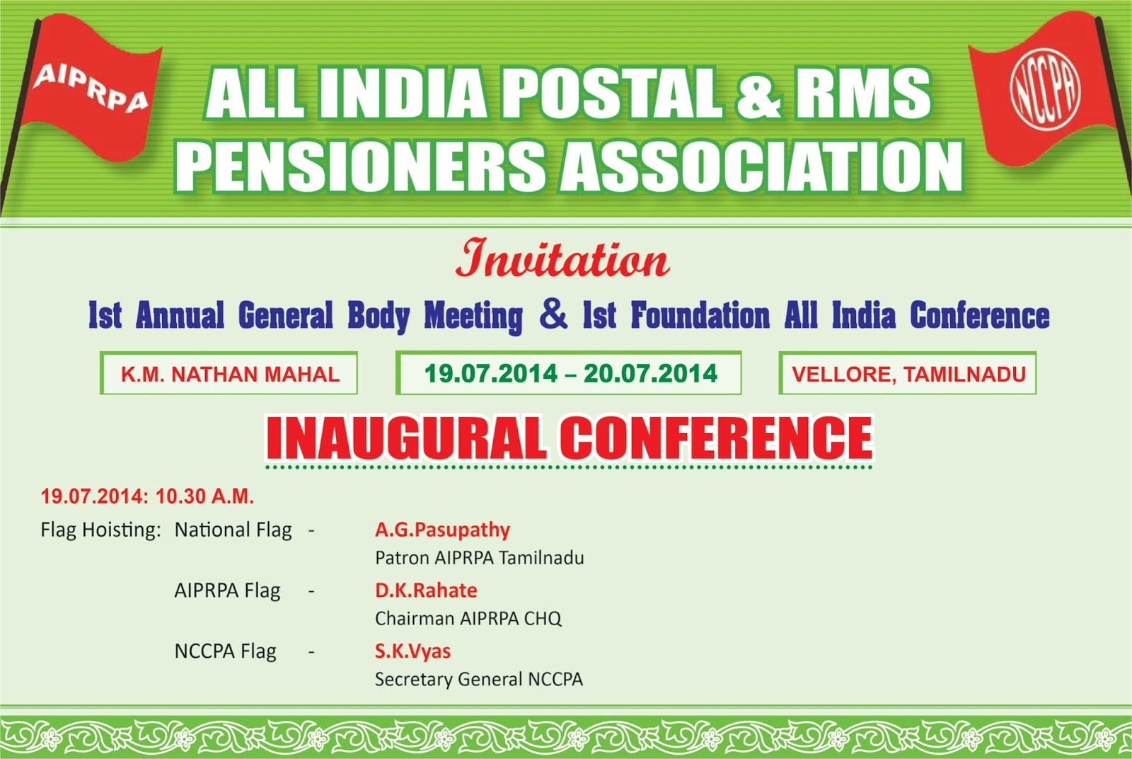 All India Postal RMS Pensioners Association INVITATION TO 1st