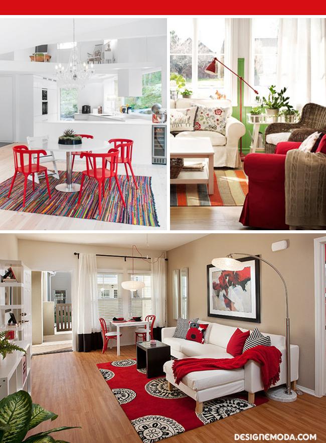 Decoracao De Sala Vermelho ~  vermelho é perfeito! Além de aquecer o espaço, os tons de vermelho