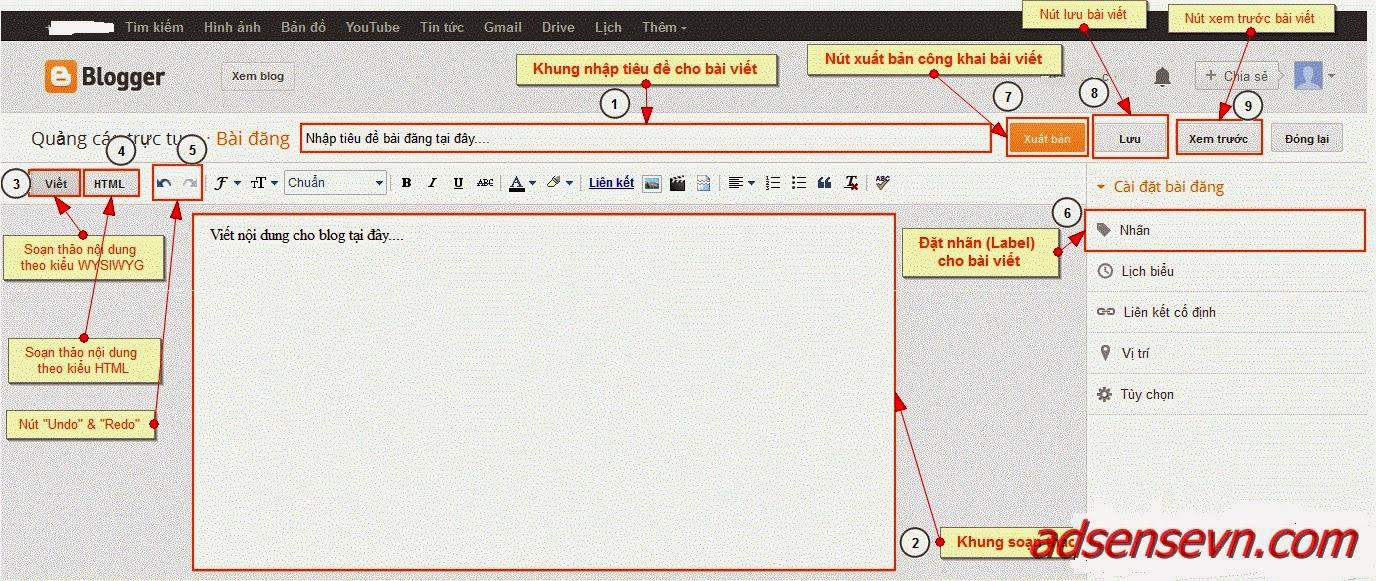 Hướng dẫn đăng ký và sử dụng Blogspot (Blogger) - (phần 2)