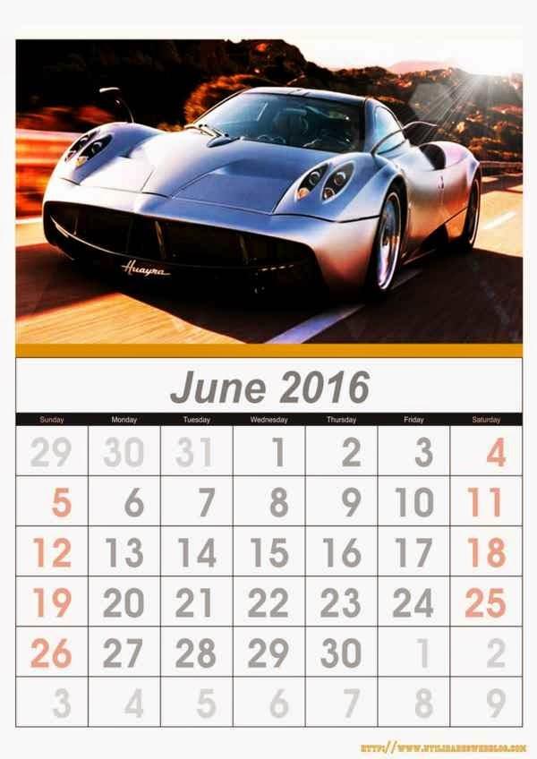 calendario de autos mes de junio año 2016 listos para imprimir