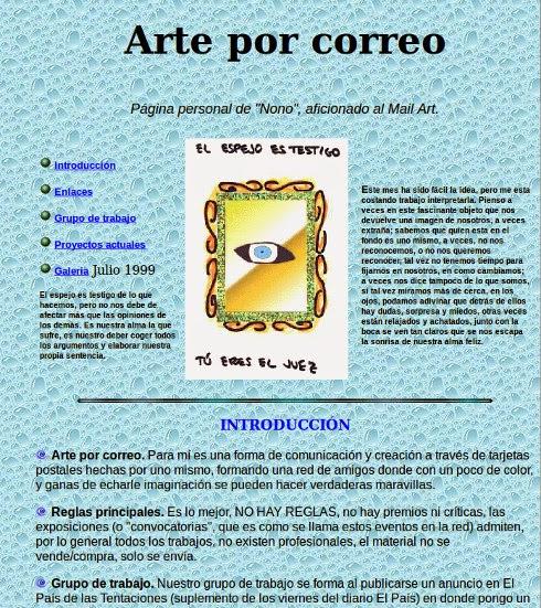 Portada de la primera web de Nono sobre Arte Correo