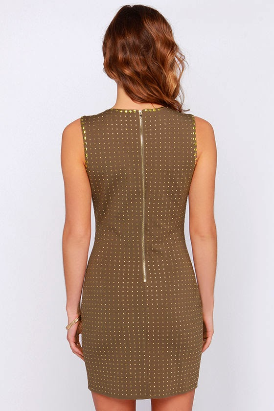 Dot Your I's Studded Brown Bodycon Dress ($60)   now 70% off $18
