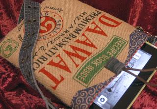 iPad bag made from burlap rice sack