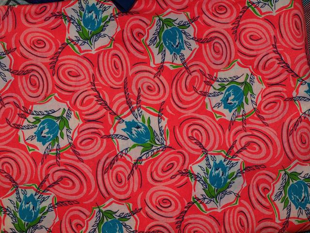 40's 50's vintage pink floral cotton fabric
