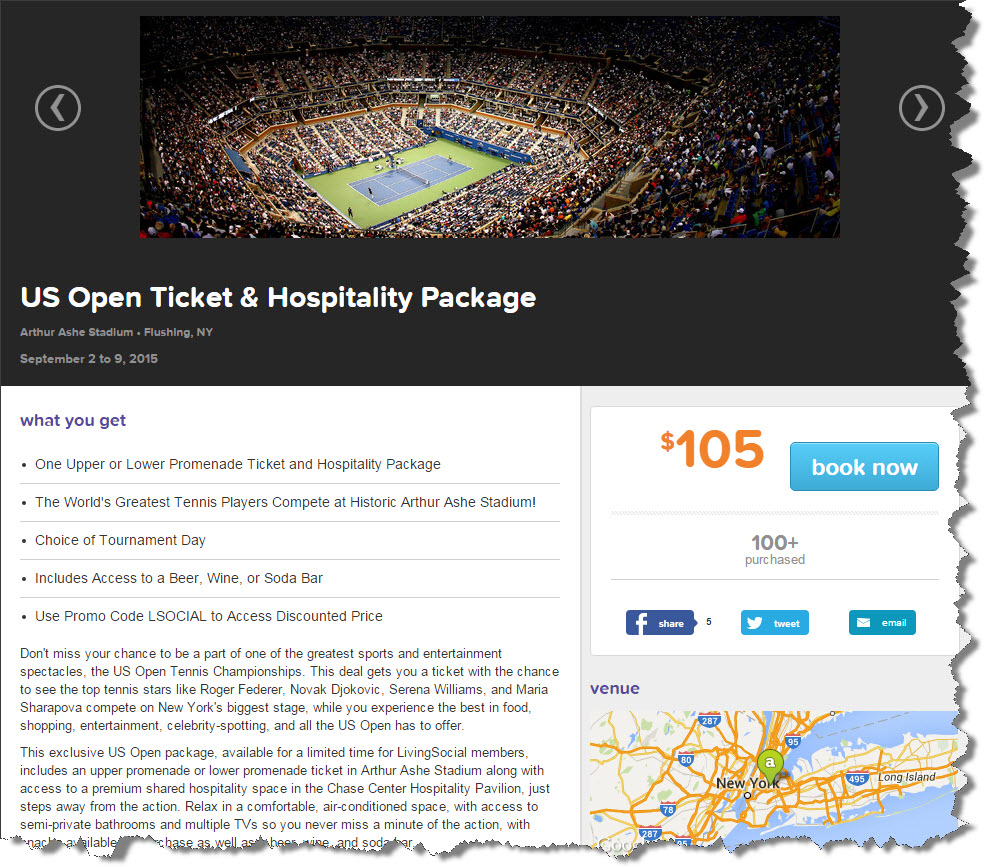 US Open Tennis Promo/Coupon Code = TENNIS. Since the US Open Tennis Tournament has been occurring, but since it has been the final tennis major of the season. It is the culmination of the year following up on the heels of the Grand Slam, which is made up of the Australian Open, the French Open, and Wimbledon.