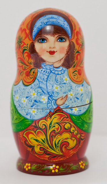 "Set of 5 puppets a tall matryoshka (nesting dolls) largest 6.7"" (17 cm) Traditionally Russian souvenir. A fun gift."