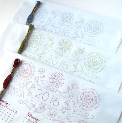 DIY tea towel calendar with floral design for 2016