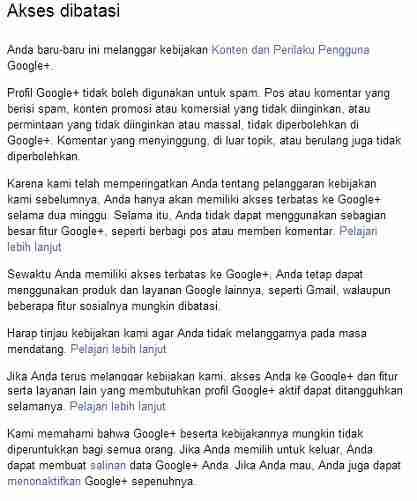 akun google plus ditangguhkan