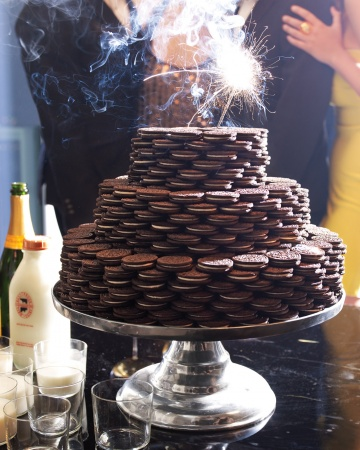 celebrating New Year's Eve at home Oreo cookie cake