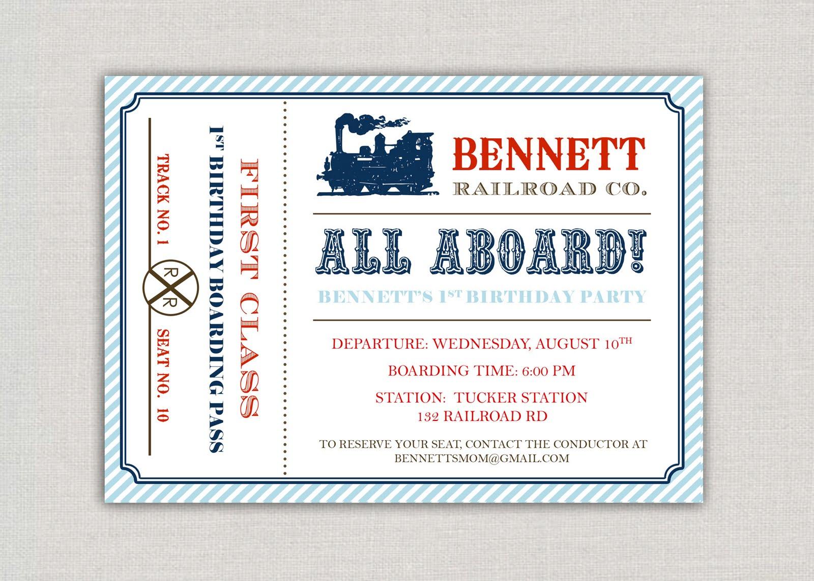 Train Ticket Invitation Template Free Train Ticket Invitation