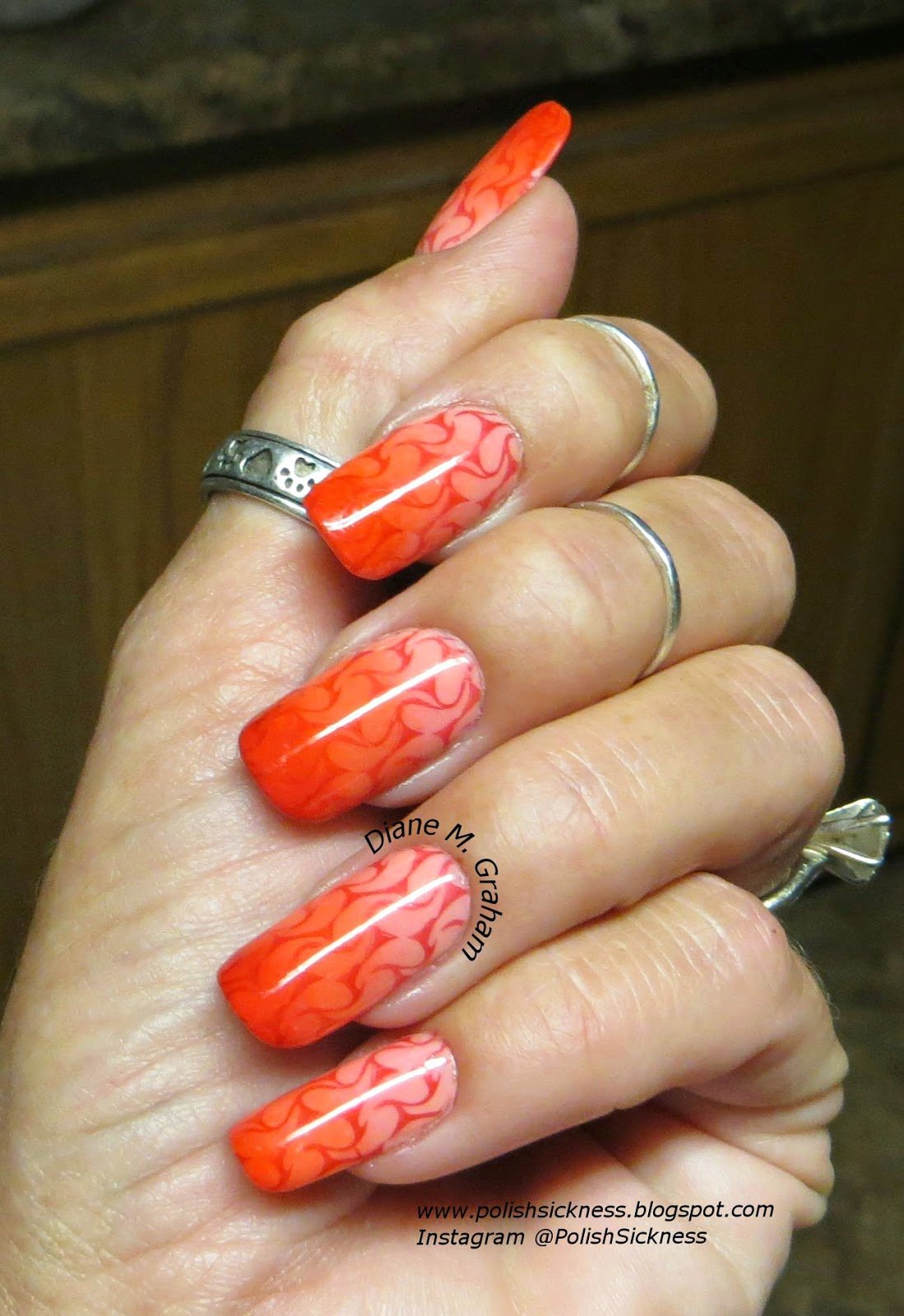 Sinful Colors Cream Soda, Julep Gloria, Loreal Precious Coral, China Glaze Drive, gradient, AliExpress 12-51 stamp