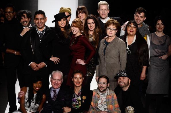 Designer Patricia Michaels with Heidi Klum, Tim Gunn & Season 11 Cast