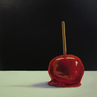 realistic painting of junk food, a red candy apple