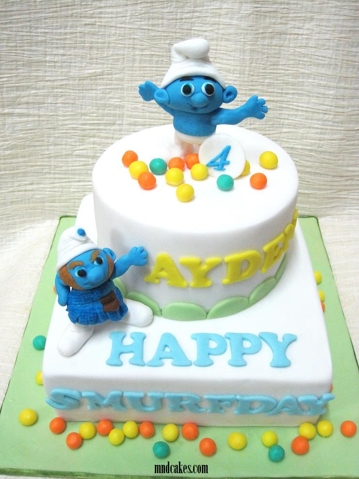 Tiered Clumsy & Gutsy Smurfs Birthday Cake