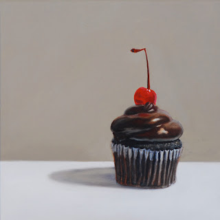 realistic painting of a chocolate cherry cupcake by jeanne vadeboncoeur