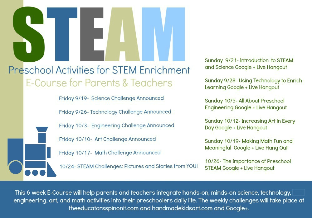 STEAM Preschool Activities E-Course Schedule