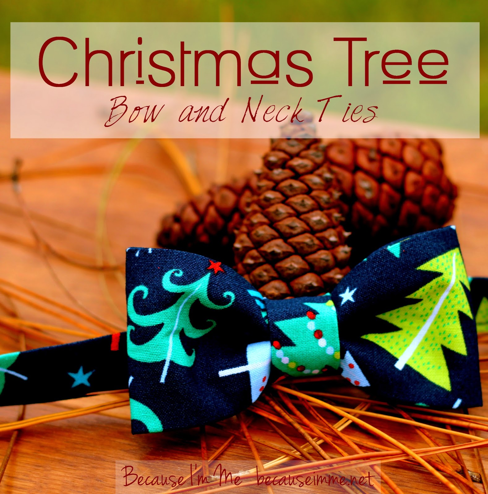 Because I'm Me bow and neck ties in a fun Christmas tree print, available now