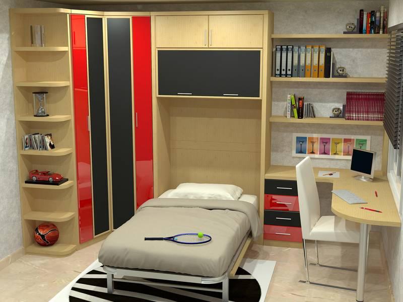 Detalle cama abatible vertical abierta