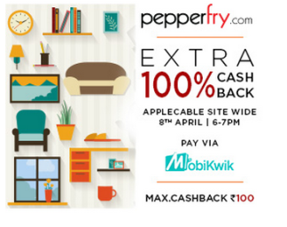 (Live) Get Extra 100% Cashback Offer shop from 6.00 To 7.00 pm (For Mobikwik Wallet Only )
