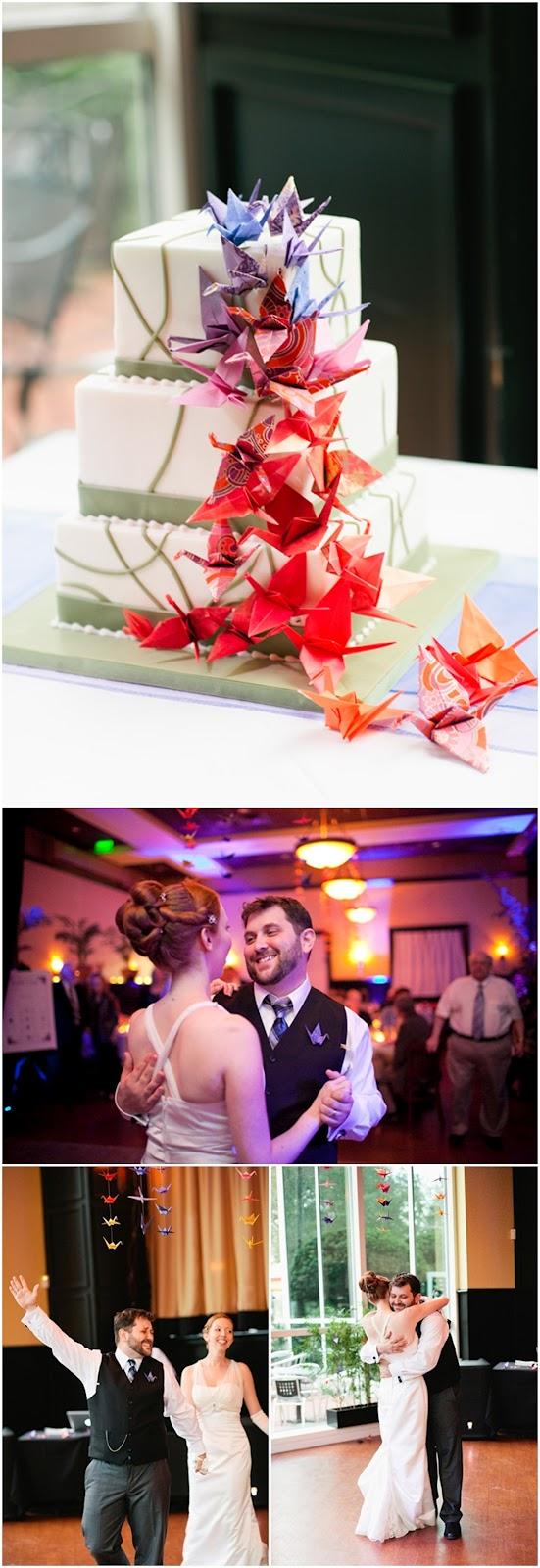 Bolo de casamento decorado com tsurus